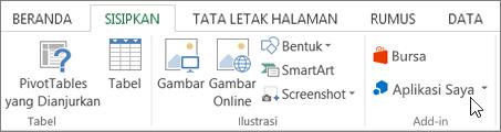 Cuplikan layar bagian dari tab Sisipkan pada pita Excel dengan kursor mengarah ke aplikasi saya. Pilih aplikasi saya untuk aplikasi access untuk Excel.