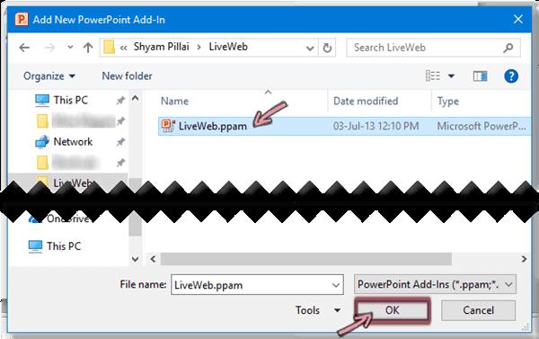 Pilih LiveWeb.ppam dan lalu klik OK.