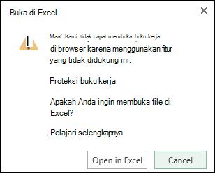 Kotak dialog saat Anda membuka buku kerja yang diproteksi kata sandi di Excel untuk web