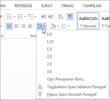 Cuplikan layar tab Beranda di Word, memperlihatkan menu baris dan Penspasian paragraf.
