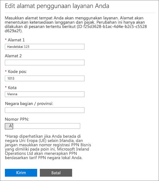 Edit halaman alamat penggunaan layanan Anda dengan kotak nomor PPN di bagian bawah.