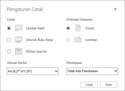 Opsi pengaturan cetak setelah mengklik file > cetak