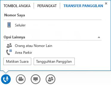 Cuplikan layar menu transfer panggilan
