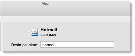 Deskripsi dan tipe akun Outlook diperlihatkan.