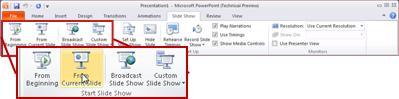 Tab Peragaan Slide, di PowerPoint 2010, melihat grup Mulai Peragaan Slide.