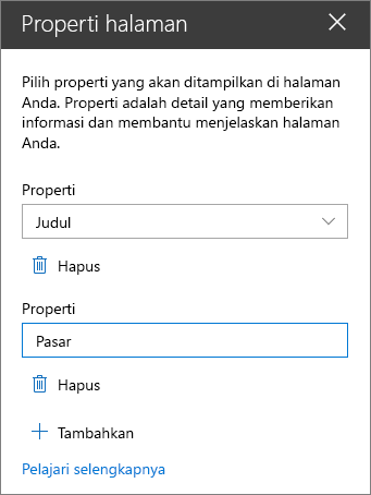 Panel komponen Web properti Halaman