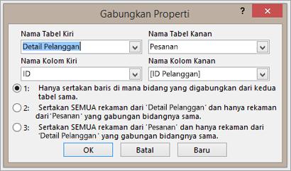 Cuplikan layar dari properti gabungan penyorotan nama tabel kiri