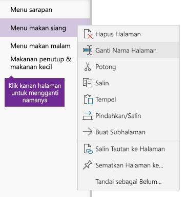 Cuplikan layar halaman yang diganti namanya di OneNote