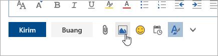 Cuplikan layar tombol Sisipkan gambar sebaris