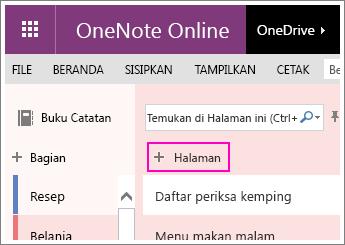 Cuplikan layar cara menambahkan halaman di OneNote Online.