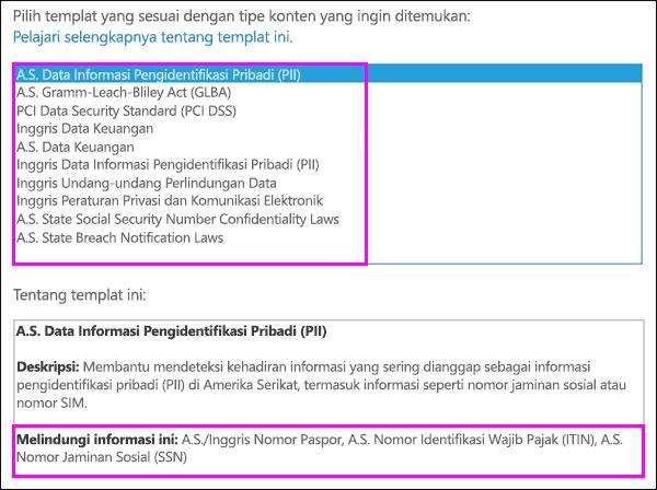 Templat kebijakan DLP