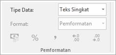 Cuplikan layar memperlihatkan bidang tipe data
