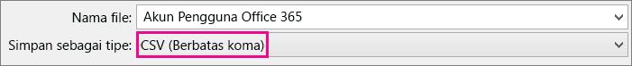 Gambar cara menyimpan file di Excel dalam format CSV