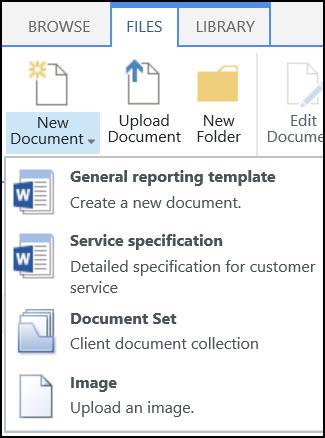 Menu Dokumen Baru dengan tipe konten yang dikustomisasi dalam SharePoint