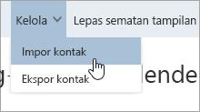 Cuplikan layar dari opsi impor kontak di menu Kelola