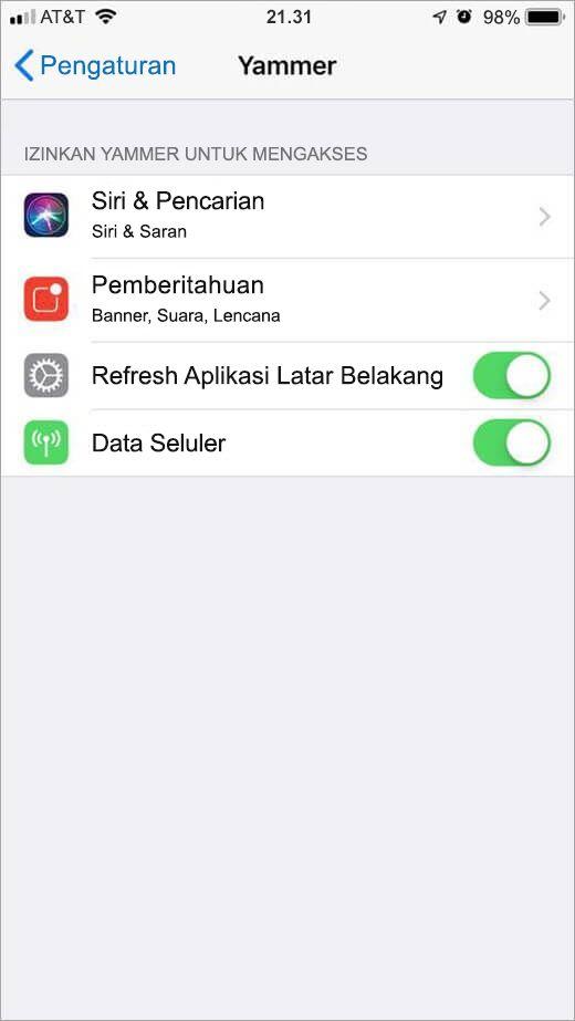 menu pengaturan Yammer iOS