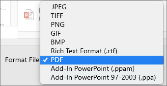 Ekspor PDF di PowerPoint 2016 untuk Mac