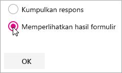 Pemilihan komponen web Microsoft Forms untuk Tampilkan hasil formulir.