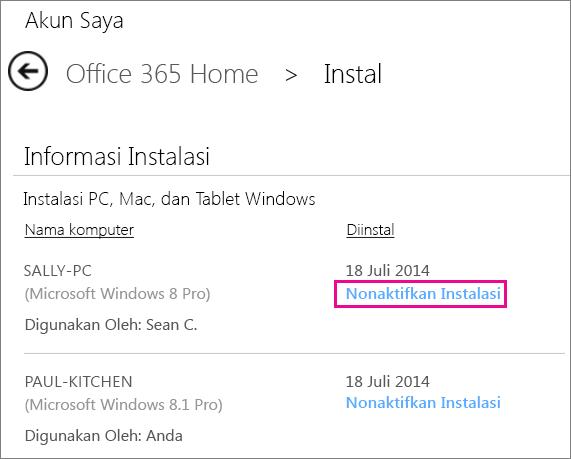 """Cuplikan layar halaman Instalasi dengan link """"Nonaktifkan Instalasi"""" dipilih."""