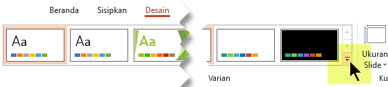 Pilih panah menurun yang membuka galeri varian warna