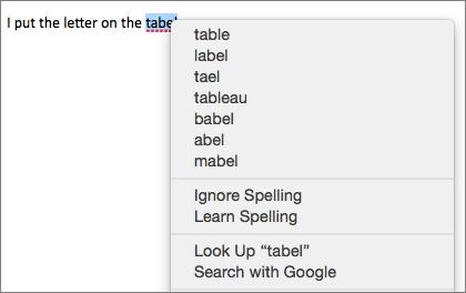 Kesalahan ejaan dengan menu memperlihatkan opsi untuk memperbaikinya