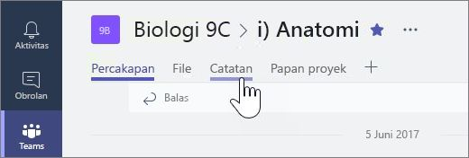 Buku catatan kelas di Microsoft tim untuk berkolaborasi