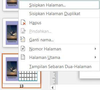 Untuk menyisipkan halaman, klik kanan di halaman dalam panel Page Navigation.