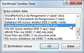 Kotak dialog Konfirmasi Sumber Data