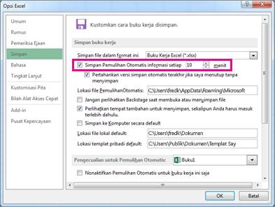 Opsi PemulihanOtomatis pada tab Simpan di kotak dialog Opsi Excel