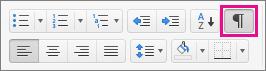 Klik Perlihatkan semua karakter non-cetak pada tab Beranda untuk menampilkan tanda pemformatan.