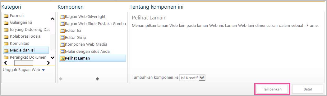 Menambahkan komponen web