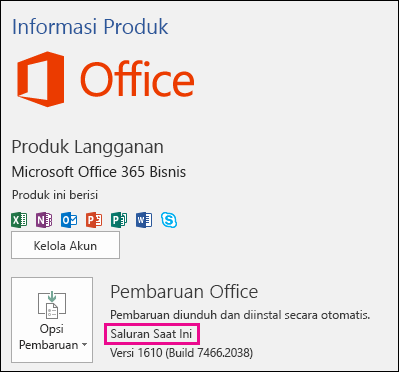 Informasi akun produk untuk langganan Office 365 Bisnis di Saluran Saat Ini