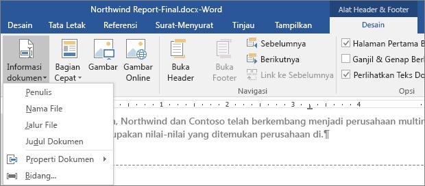 Opsi Informasi Dokumen diperlihatkan pada tab Alat Header dan Footer.