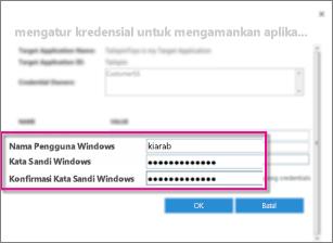 Cuplikan layar yang memperlihatkan dialog kredensial bidang yang Anda gunakan saat Anda membuat aplikasi Target penyimpanan aman. Memperlihatkan nilai default, Windows nama pengguna dan kata sandi Windows.