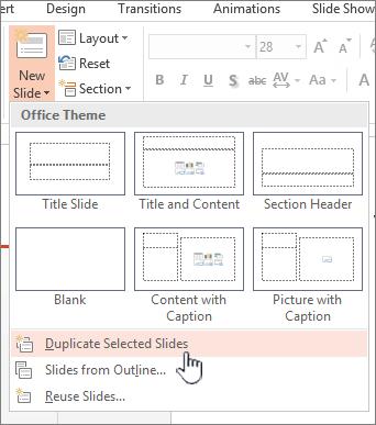 Menu slide baru dengan slide duplikat dipilih