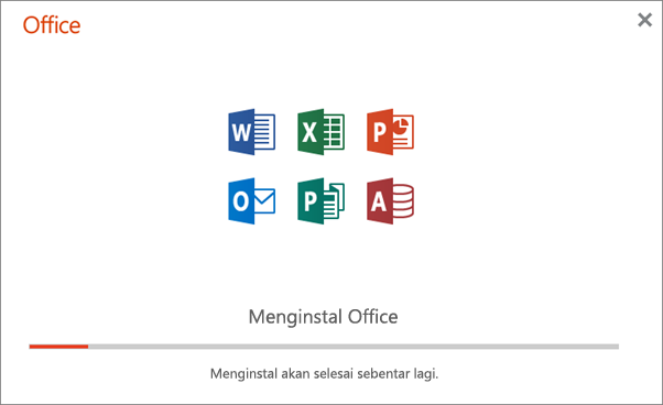Memperlihatkan kotak dialog kemajuan yang muncul ketika Office sedang diinstal