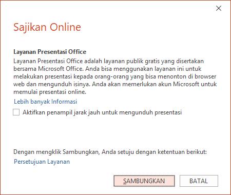 Memperlihatkan opsi File > Bagikan > Sajikan Online di PowerPoint