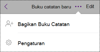 Tombol Pengaturan di buku catatan di iPhone.