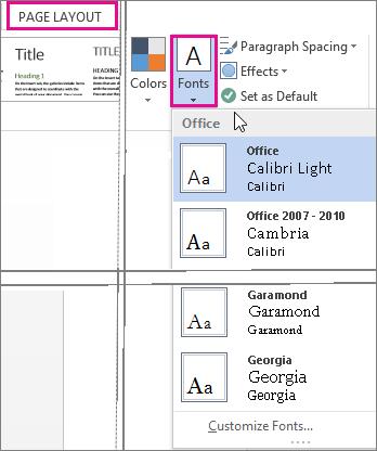 Galeri font di tab Desain