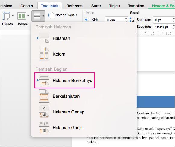 Klik Halaman Berikutnya untuk menyisipkan hentian bagian yang membuat teks setelah hentian dimulai pada halaman berikutnya.
