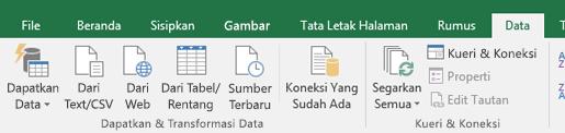 Dapatkan & transformasi opsi pada Data tab