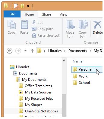 Navigasi ke folder OneNote Anda di File Explorer