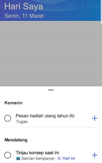Cuplikan layar To-Do di Android dengan saran buka dan dikelompokkan menurut kemarin dan akan datang.
