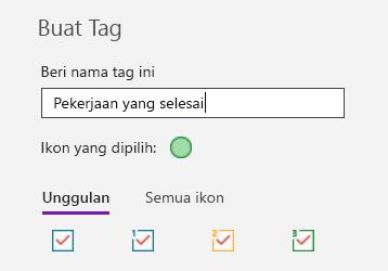 Pembuatan tag kustom di OneNote untuk Windows 10