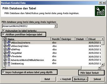 Kotak centang aktifkan pemilihan beberapa tabel