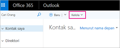 Gambar dari tampilan halaman Sosial di Outlook pada web