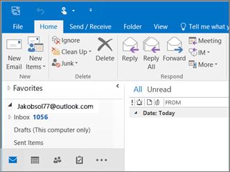 Gambar dari seperti apa tampilannya saat Anda memiliki akun Outlook.com di Outlook 2016.