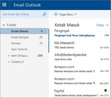 Layar utama Outlook.com atau Hotmail.com