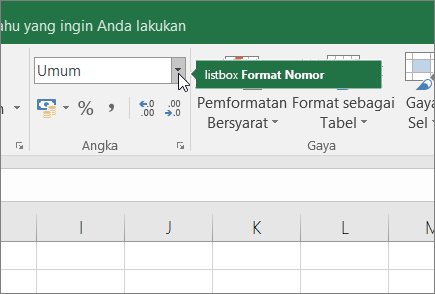 Kotak Daftar Format angka