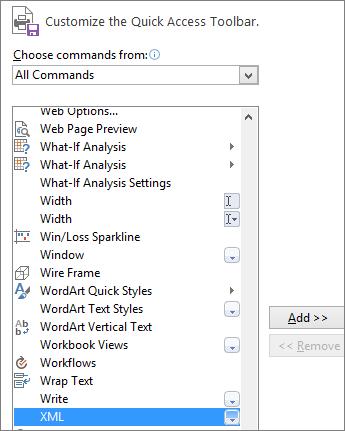 Dalam daftar perintah, pilih XML, lalu klik Tambahkan.